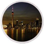 Toronto Evening Sky Line Panorama Round Beach Towel