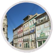Torre Dos Clerigos Porto Portugal Round Beach Towel