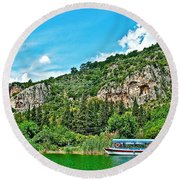 Tourboat Stops By Ancient Tombs In Daylan-turkey  Round Beach Towel