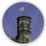 Tower And Flag Cologne Germany Round Beach Towel
