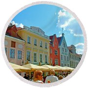 Town Square In Old Town Tallinn-estonia Round Beach Towel