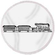 Train, 19th Century Round Beach Towel