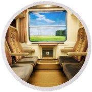 Travel In Comfortable Train. Round Beach Towel