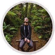 Travel Man Laughing In Tasmania Rainforest Round Beach Towel
