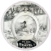 Travel Poster, C1882 Round Beach Towel