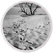 Tree Branch And Footprints On Sleeping Bear Dunes Round Beach Towel