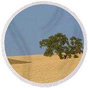 Tree In Field Round Beach Towel