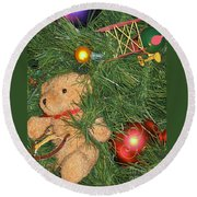 Tree Of Toys Round Beach Towel