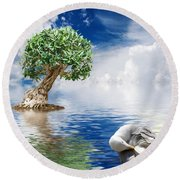 Tree Seagull And Sea Round Beach Towel