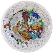 Trencadis Mosaic In Park Guell In Barcelona Round Beach Towel