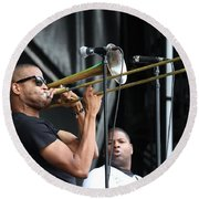 Musician Trombone Shorty Round Beach Towel