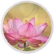 Tropical Lotus Flower Round Beach Towel