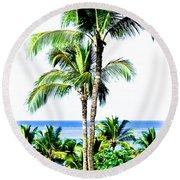 Tropical Palm Trees Round Beach Towel