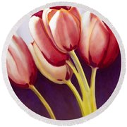 Tulips Are People Xiii Round Beach Towel