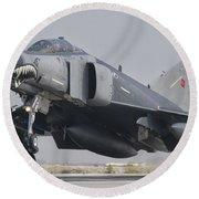 Turkish Air Force F-4 Phantom Landing Round Beach Towel