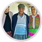 Turkish Family In Demircidere Koyu In Kozak-turkey  Round Beach Towel