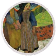 Two Breton Girls By The Sea Round Beach Towel