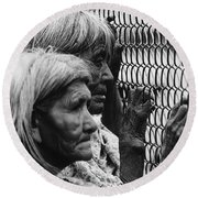 Two Elderly Apache Women Labor Day Rodeo White River Arizona 1969 Round Beach Towel