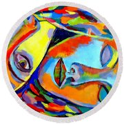 Two Energies Round Beach Towel