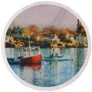 Two Lobster Boats On Marblehead Harbor With A Red Sky Round Beach Towel
