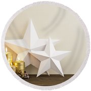 Two Stars With Gold Candles Round Beach Towel