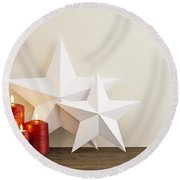 Two Stars With Red Candles Round Beach Towel