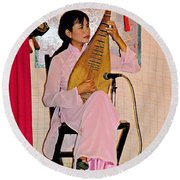 Two-stringed Lute Player At Wedding Ceremony Show In Binh Quoi Village-vietnam  Round Beach Towel
