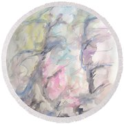 Two Trees In The Wind Round Beach Towel