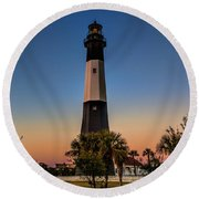 Tybee Light Sunset Round Beach Towel