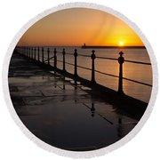 Tynemouth Pier Sunrise Round Beach Towel