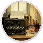 Typewriter And Whiskey Round Beach Towel