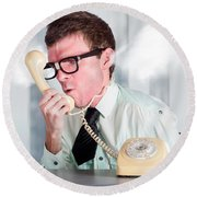 Unhappy Nerd Businessman Yelling Down Retro Phone Round Beach Towel