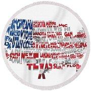 United States Typographic Map Flag Round Beach Towel