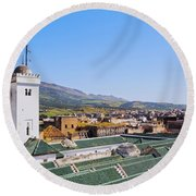 University Of Al-karaouine In Fes In Morocco Round Beach Towel