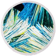 Urea Or Carbamide Crystals In Polarized Light Round Beach Towel