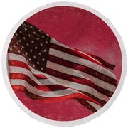 Us Flag Round Beach Towel
