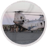 U.s. Marines Board A Ch-46 Sea Knight Round Beach Towel by Stocktrek Images