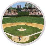 Usa, Illinois, Chicago, Cubs, Baseball Round Beach Towel