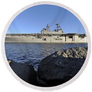 Uss Bataan Arrives At Naval Station Round Beach Towel