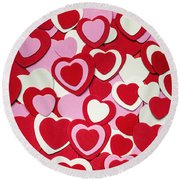 Valentines Day Hearts Round Beach Towel by Elena Elisseeva
