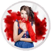 Valentines Day Woman Eating Heart Candy Round Beach Towel