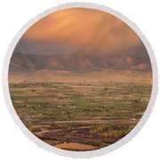 Valley Sunset Round Beach Towel