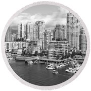Vancouver Bc Downtown Skyline At False Creek Canada Round Beach Towel