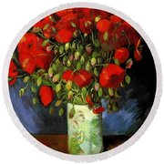 Vase With Red Poppies Round Beach Towel