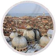 Terracotta Skyline Venice Italy Round Beach Towel