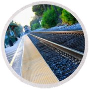 Ventura Train Station Round Beach Towel