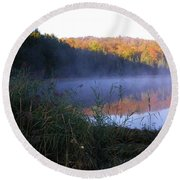 Vermont Pond Round Beach Towel