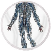 Vesalius: Nerves, 1543 Round Beach Towel