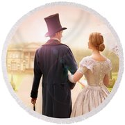 Victorian Couple Walking Towards A Country Estate Round Beach Towel