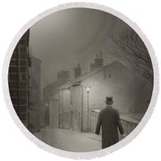 Victorian Or Edwardian Gentleman Walking Down A Cobbled Road At  Round Beach Towel